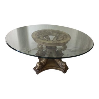 Transitional Neo Classical Gold Silver Gilt Dolphin Dining Table