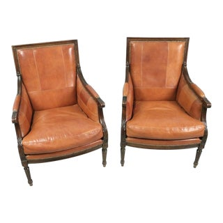Lewis Shanks Leather French Style Chairs - A Pair