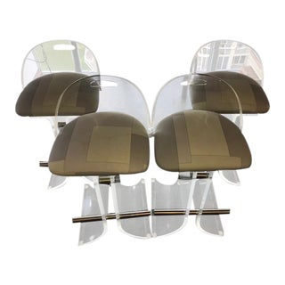 Circa 1970 Charles Hollis Jones Lucite Swivel Bar Stools - Set of 4