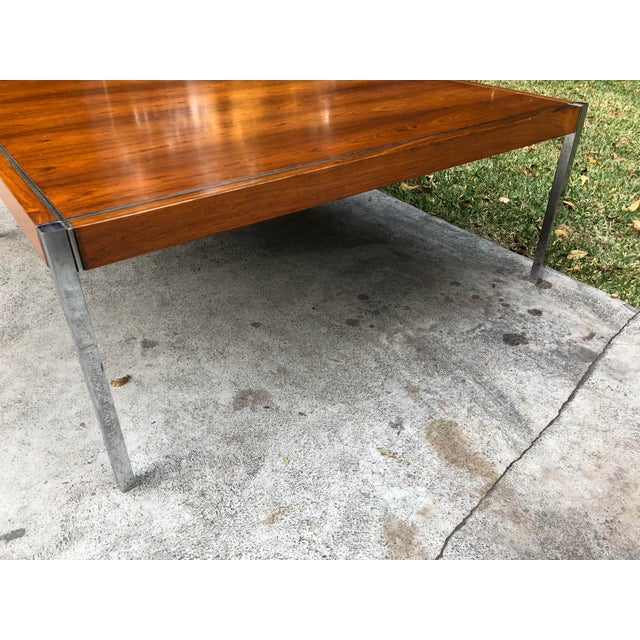 Knoll Rosewood & Chrome Coffee Table - Image 6 of 8