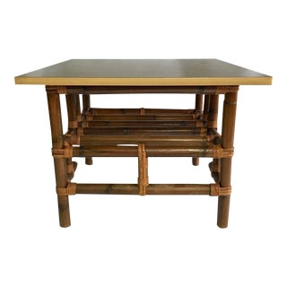 Vintage Calif-Asia Rattan & Formica Cocktail Table