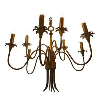Italian Mid-Century Brass Nine Light Chandelier