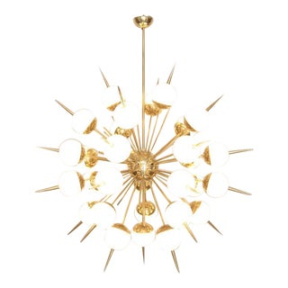 Huge Sputnik Murano Glass and Brass Chandelier Attributed to Stilnovo