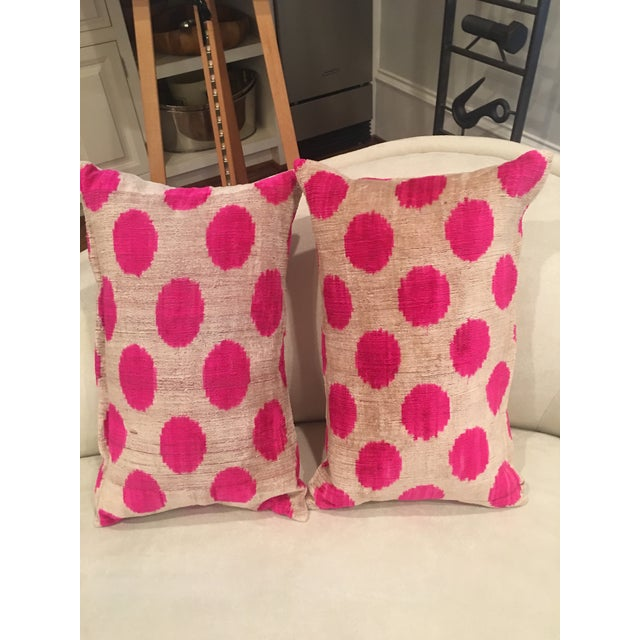 Pink Dots Handmade Pillows - A Pair - Image 3 of 9