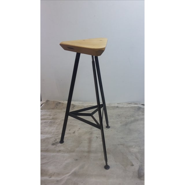Delta Steel and Pine Stool - Image 3 of 6