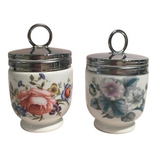 Pair of Royal Worchester Porcelain Egg Coddler