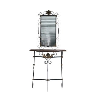 Gilded Iron & Walnut Console With Mirror