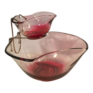 Mid-Century Ruby Red Chip & Dip Salad Set - 5 Pieces