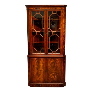 Flamed Crotch Mahogany Corner Cabinet