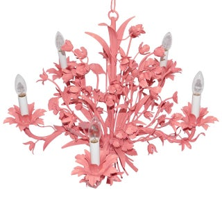 Vintage Coral Floral Metal Chandelier
