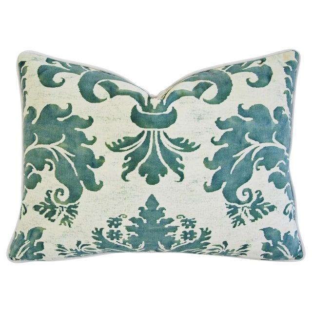 Designer Italian Fortuny Glicine & Velvet Pillow - Image 1 of 6