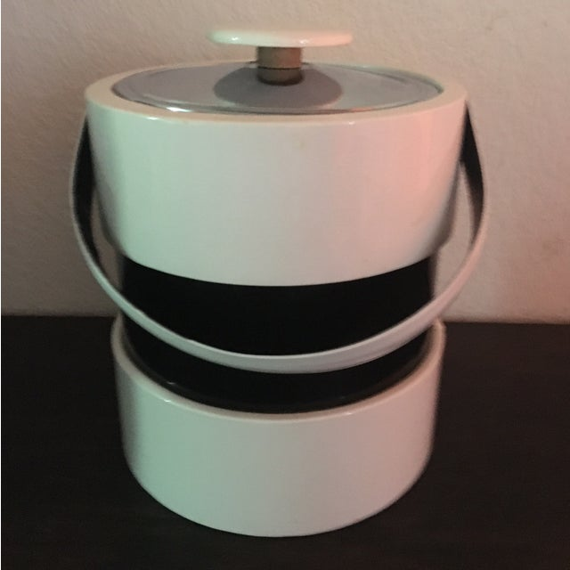 Mid Century Retro Black & White Ice Bucket - Image 2 of 5