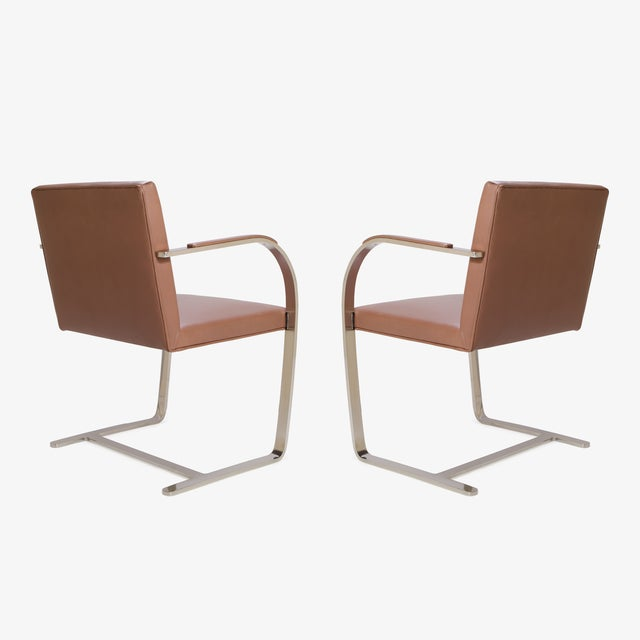 Mies Van Der Rohe for Knoll Cognac Leather Brno Flat-Bar Chairs, Pair - Image 5 of 9