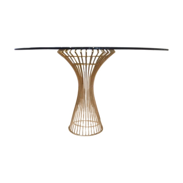 Gold Table Base & Glass Top Dining Table - Image 1 of 4