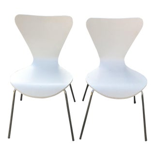 West Elm White Scoop-Back Dining Chairs - A Pair