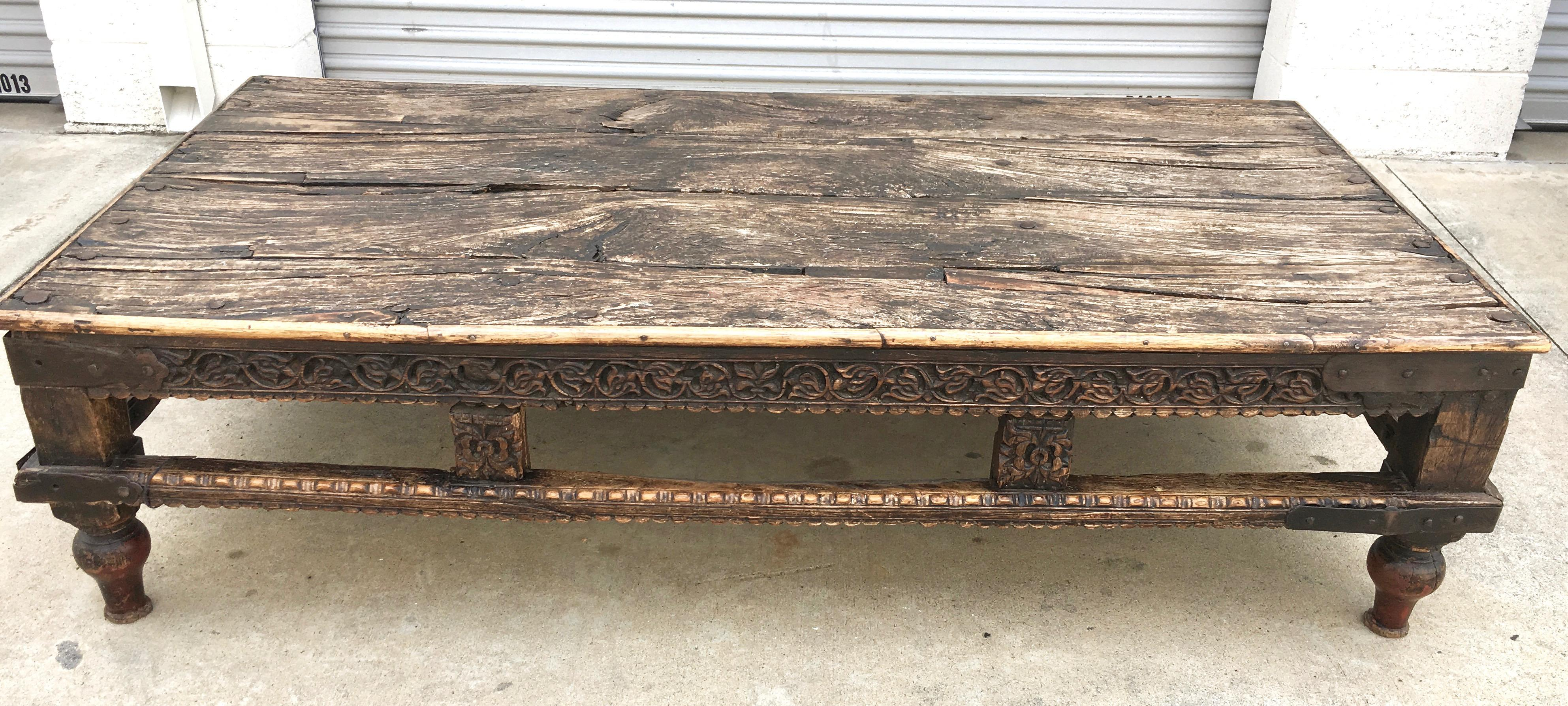 Captivating 19th Century Burmese Wood Opium Bed Coffee Table   Image 3 Of 10