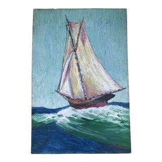 Howard Fox Vintage Sailboat Painting 1925