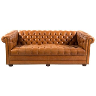 Caramel-Colored Chesterfield Sofa
