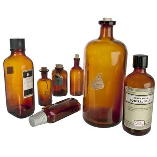 Vintage Amber Apothecary Bottles - Set of 7