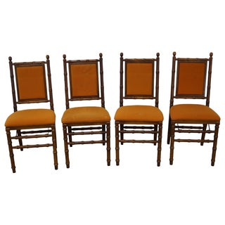 Vintage Faux Bamboo Folding Dining Chairs - 4