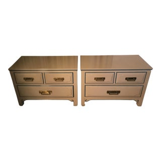 Mid-Century Taupe Nightstands - A Pair