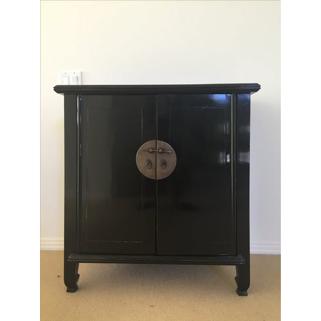 Spruce Wood Small Black Cabinets - Pair - Image 2 of 5