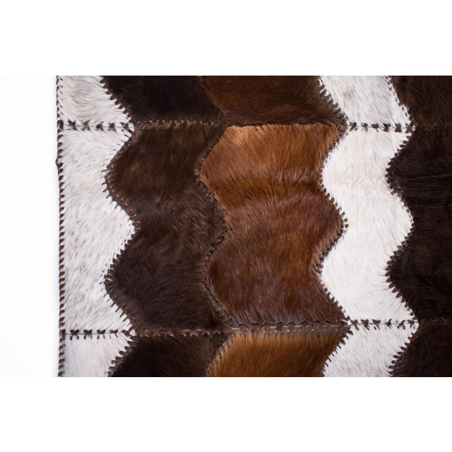 "Cowhide Patchwork Area Rug - 4' x 6'4"" - Image 5 of 8"