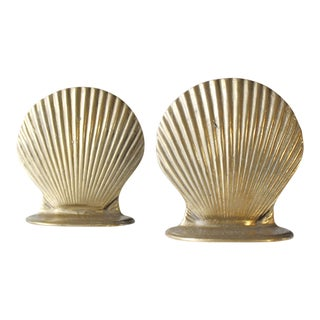 Vintage Brass Shell Bookends - A Pair