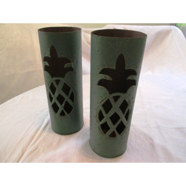 Haitian Pineapple Tin Luminaries - A Pair - Image 2 of 5