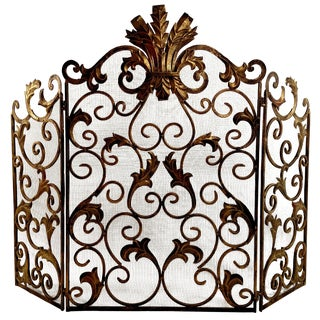 Gilt Bronze FInish Fireplace Screen