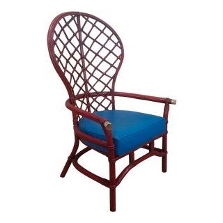 Ficks Reed Co 1950s Red Rattan Fan Back Armchair