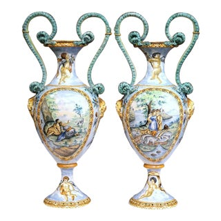 19th Century Italian Hand Classical Roman Scene Painted Vases - A Pair