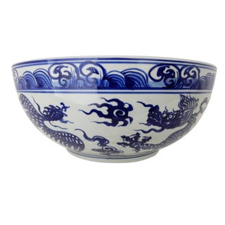 Asian Blue & White Dragon & Phoenix Bowl