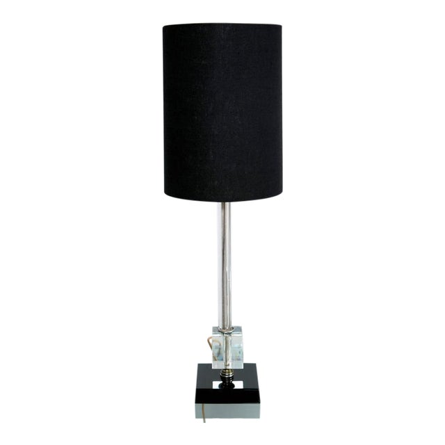 Petite Fluted Glass Task Lamp and Ebony Glass Base - Image 1 of 5
