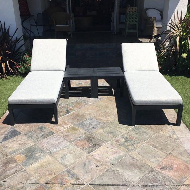 Restoration Hardware Aegean Chaises Lounge & Tables Set - Image 3 of 11