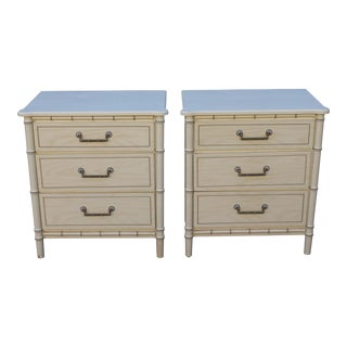 Mid-Century Modern Off White Faux Bamboo Large 3 Drawer Nightstands - a Pair