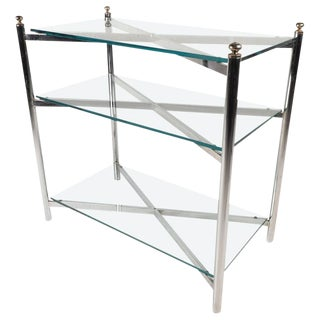 Maison Jansen Style Mid-Century Chrome & Glass Display Shelf