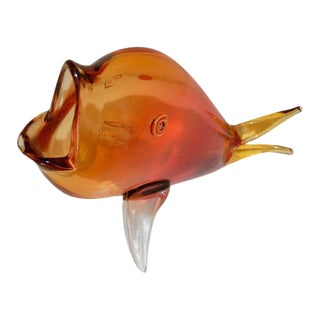 Large Mouthed Murano Fish in Orange