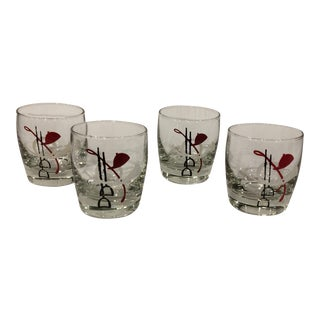 1940's English Hound Hunting Equestrian Double Shot Glasses- Set of 4