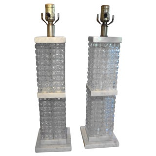 Italian Glass & Marble Table Lamps - A Pair