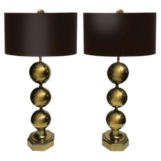 Mid-century Gold-finished Ball Lamps - A Pair