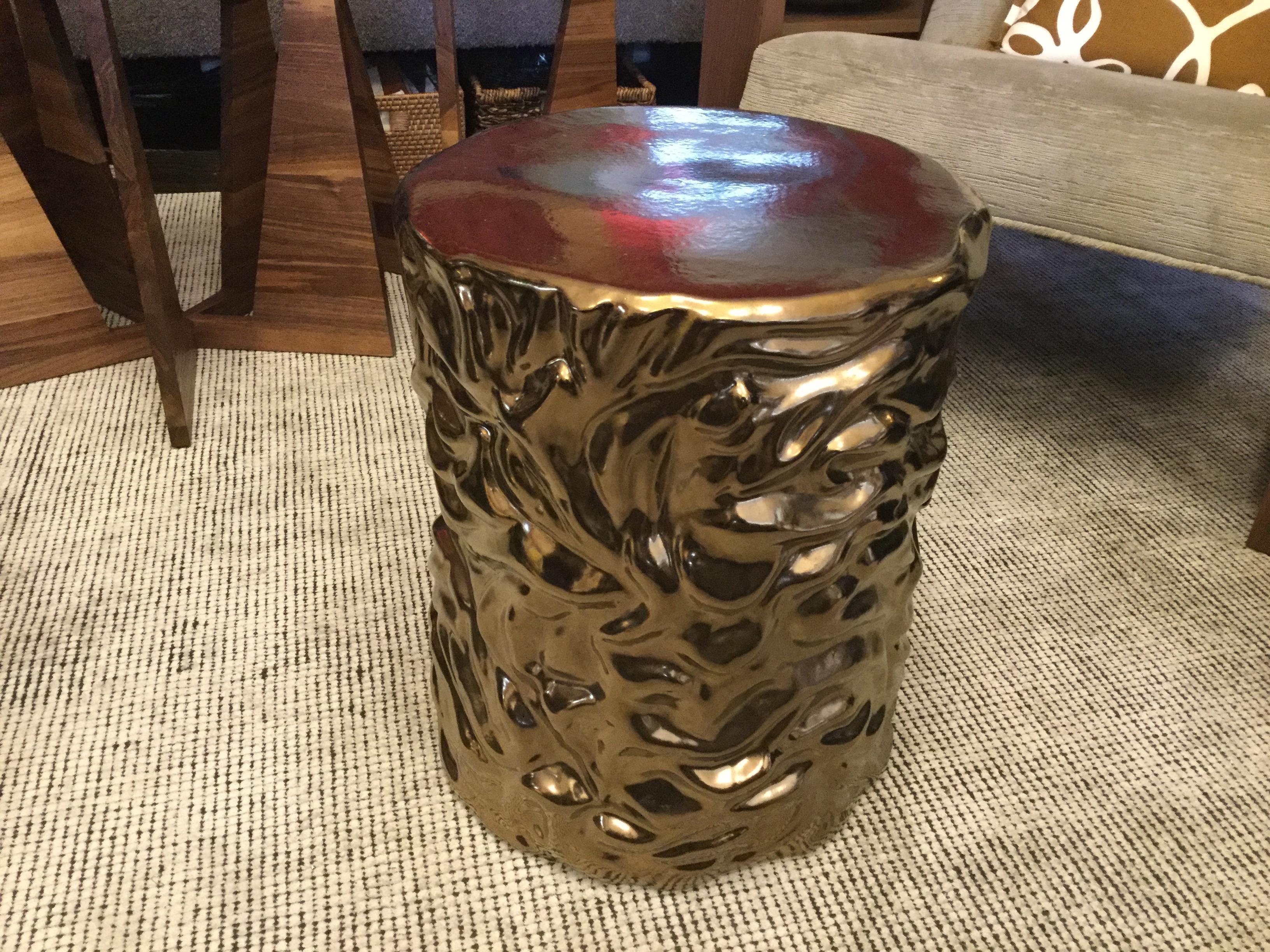 Glossy Gold Ceramic Stool - Image 4 of 5  sc 1 st  Chairish & Glossy Gold Ceramic Stool | Chairish islam-shia.org