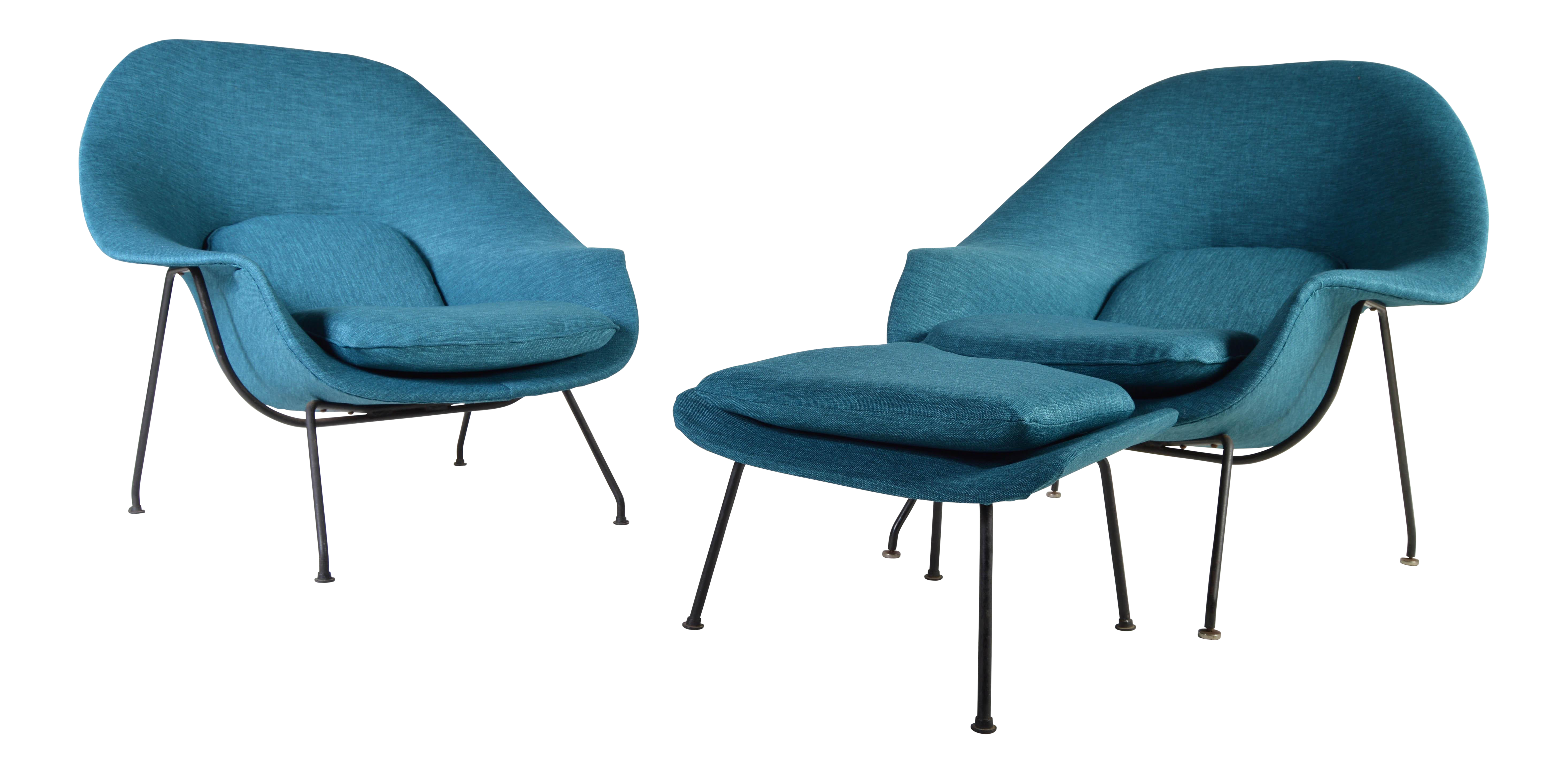Early 1950u0027s Eero Saarinen Womb Chairs For Knoll   A Pair With 1 Ottoman