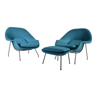 Early 1950's Eero Saarinen Womb Chairs for Knoll - A Pair with 1 Ottoman