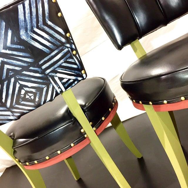 Vintage Tribal Vinyl Side Chairs - Pair - Image 4 of 7
