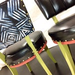 Image of Vintage Tribal Vinyl Side Chairs - Pair