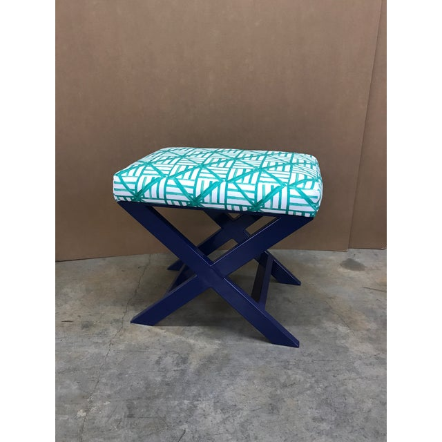 Taylor Burke Home Navy X Brooke Wright Designs Bench - Image 2 of 3