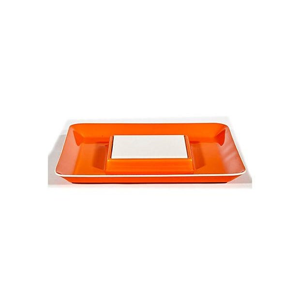 Image of 1970s Orange Plastic Serving Plate
