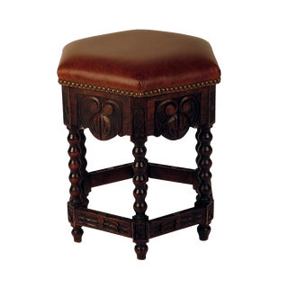 Jacobean Revival Six Sided Walnut and Leather Stool