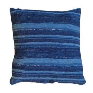 Dark Blue Striped Indigo Throw Pillow